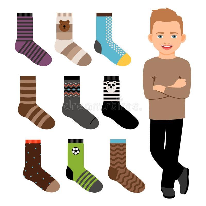 Ragazzo felice del personaggio dei cartoni animati e raccolta maschio di vettore dei calzini di stile illustrazione vettoriale