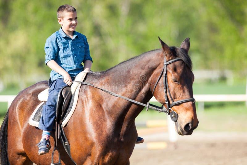 Ragazzo felice dell'adolescente sul cavallo immagini stock