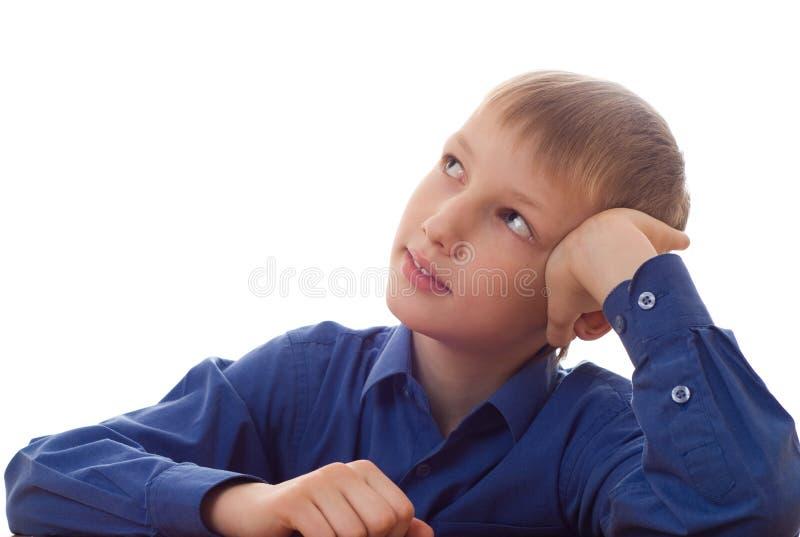 Ragazzo felice nella camicia blu immagini stock libere da diritti
