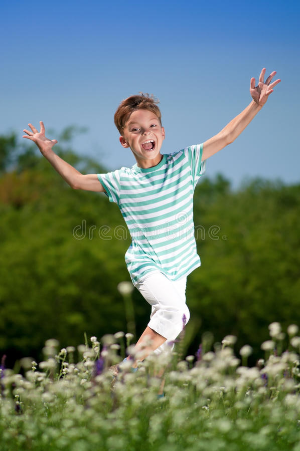Ragazzo felice sul prato fotografia stock libera da diritti