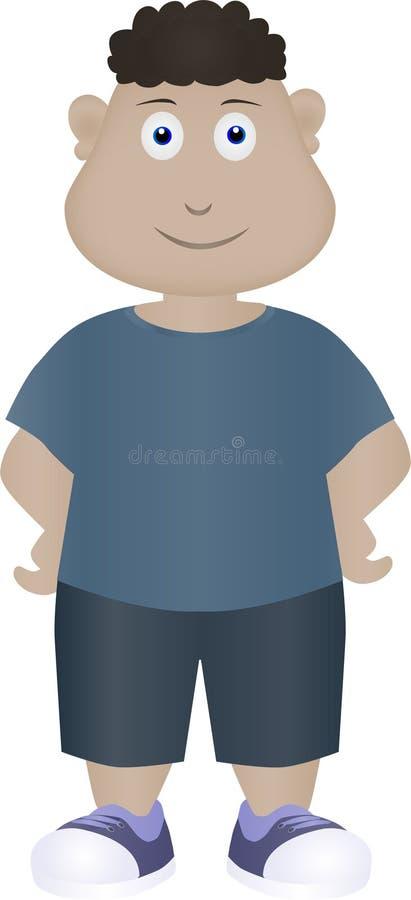 Ragazzo grasso del fumetto che aspetta il suo amico per venire illustrazione di stock