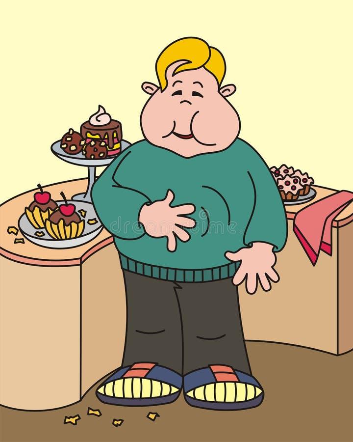 Ragazzo grasso felice illustrazione di stock