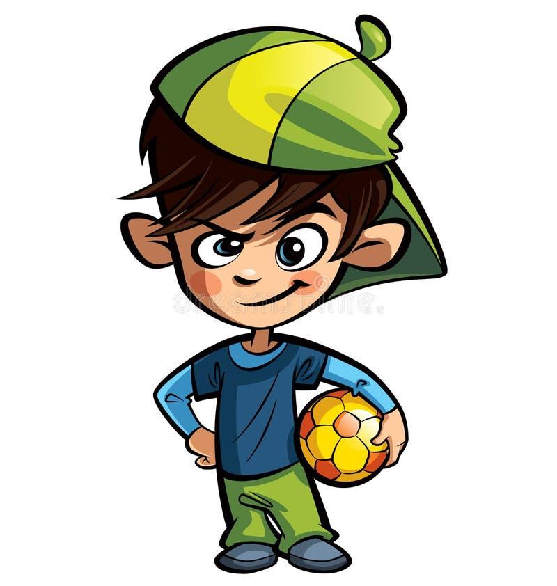 Ragazzo impertinente che tiene una palla di calcio royalty illustrazione gratis