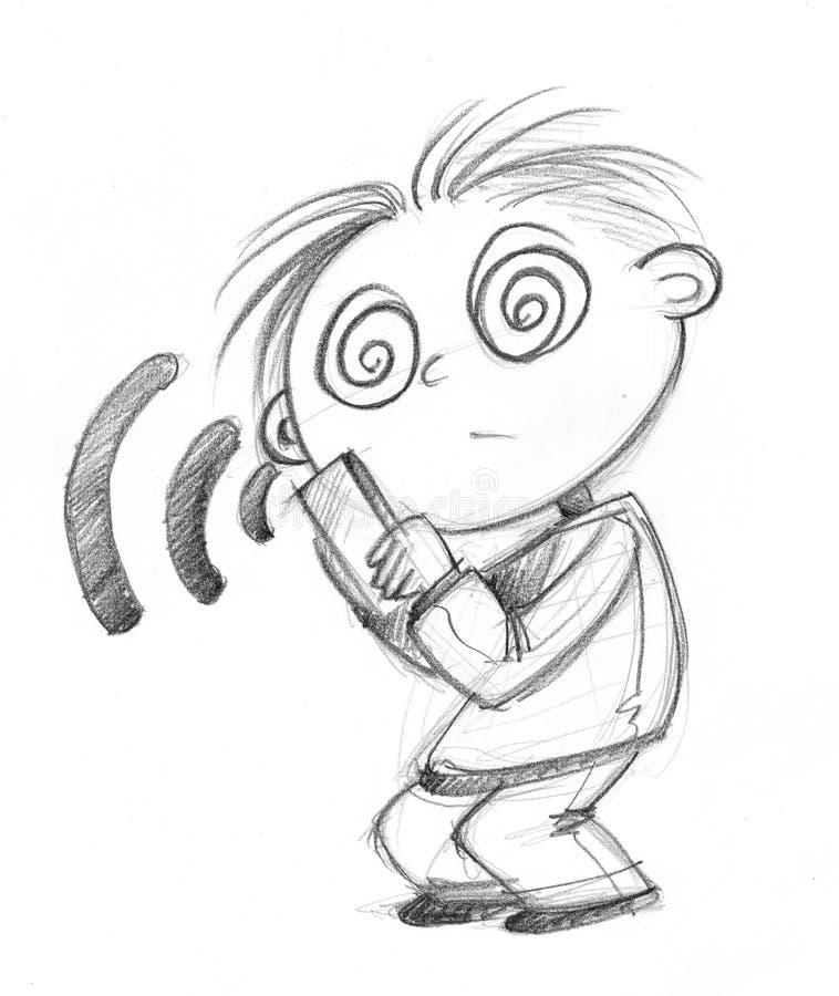 Ragazzo ipnotizzato da un telefono cellulare immagine stock