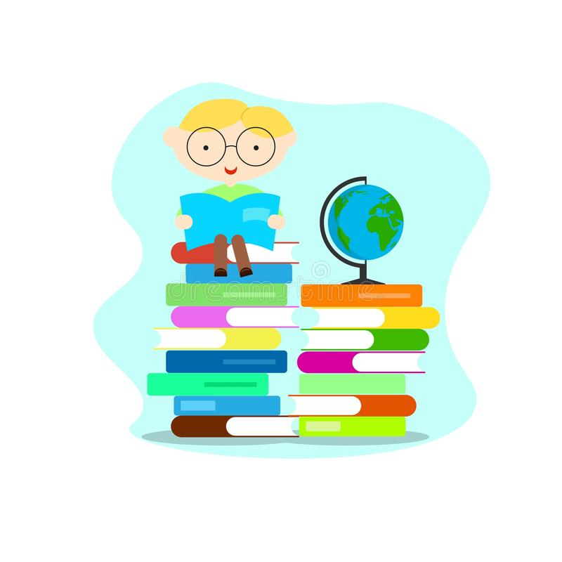 Ragazzo istruito astuto con i libri di lettura del globo illustrazione di stock