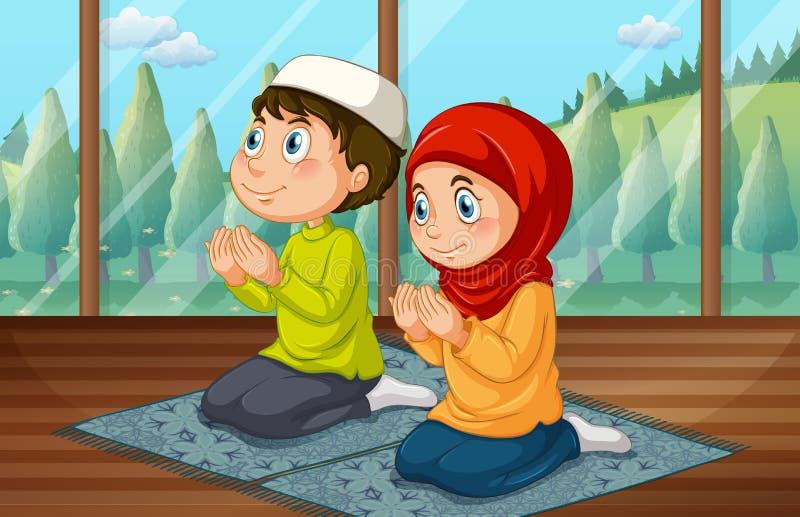 Ragazzo musulmano e ragazza che pregano nella stanza illustrazione di stock