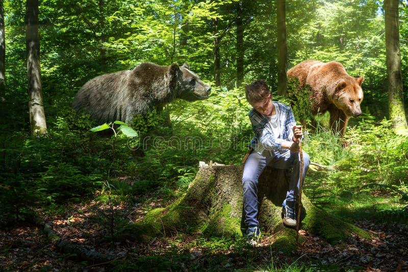 Ragazzo nel legno con gli orsi immagine stock