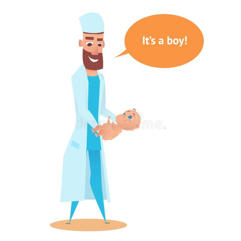 Ragazzo neonato in mani di Doctor dell'ostetrico piano illustrazione vettoriale