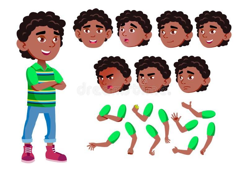 Ragazzo nero e afroamericano, bambino, bambino, vettore teenager gioia comic Emozioni del fronte, vari gesti Insieme della creazi illustrazione vettoriale