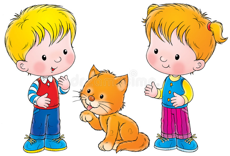 Ragazzo, ragazza e gatto illustrazione di stock