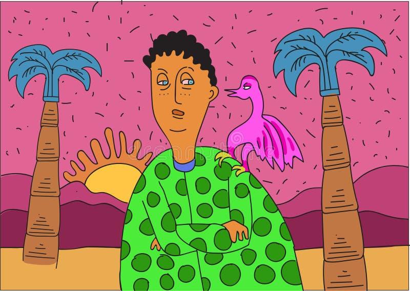 Ragazzo sconosciuto con l'uccello rosa e la palma blu royalty illustrazione gratis