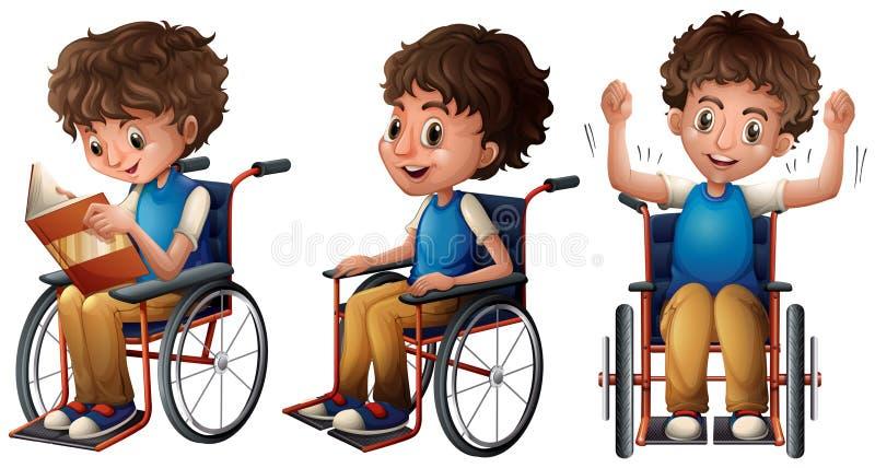 Ragazzo in sedia a rotelle che fa tre cose illustrazione di stock