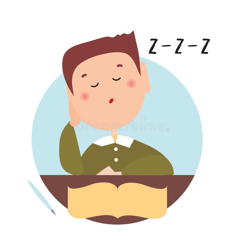 Ragazzo sonnolento con gli occhi chiusi davanti ad un libro aperto Illustrazione piana isolata su un backgroud bianco Vettore del illustrazione vettoriale