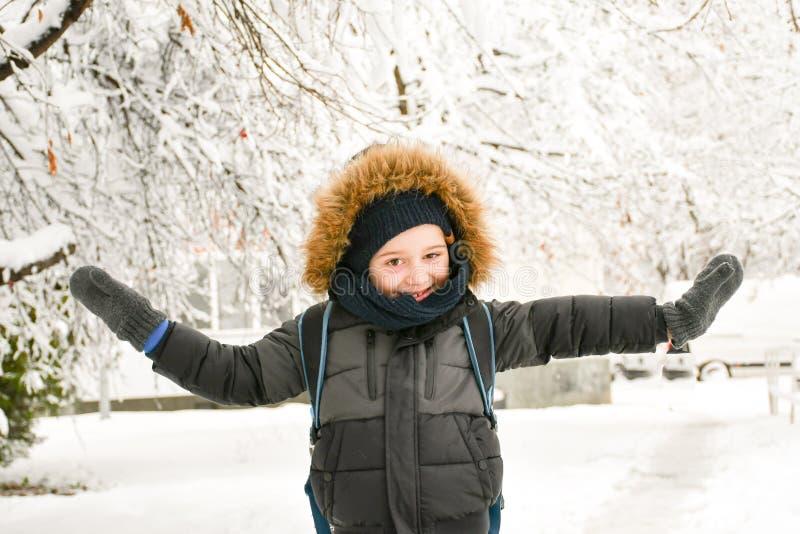 Ragazzo sorridente sveglio che gioca con la neve immagini stock