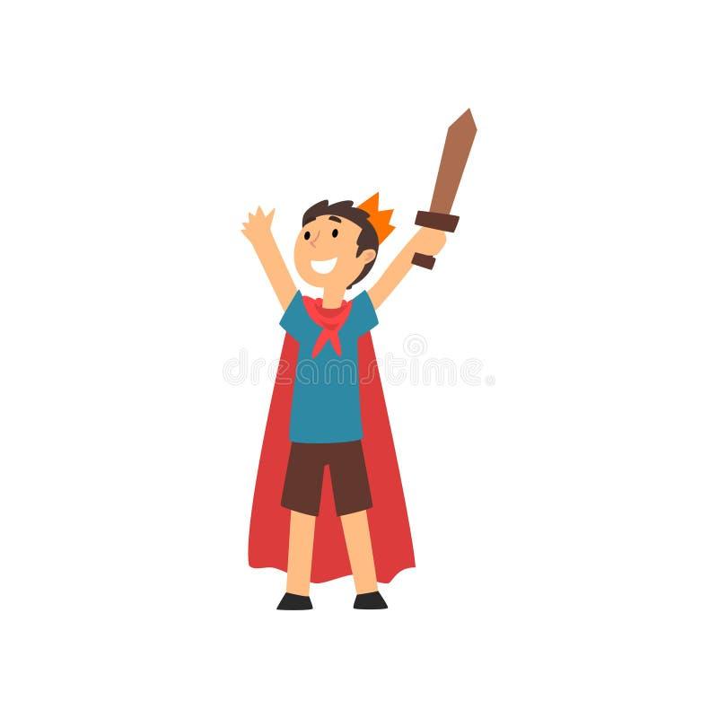 Ragazzo sorridente sveglio in costume del cavaliere Cartoon Vector Illustration illustrazione vettoriale