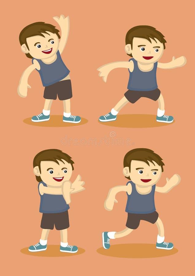 Ragazzo sportivo sveglio che fa gli esercizi d'allungamento semplici illustrazione di stock