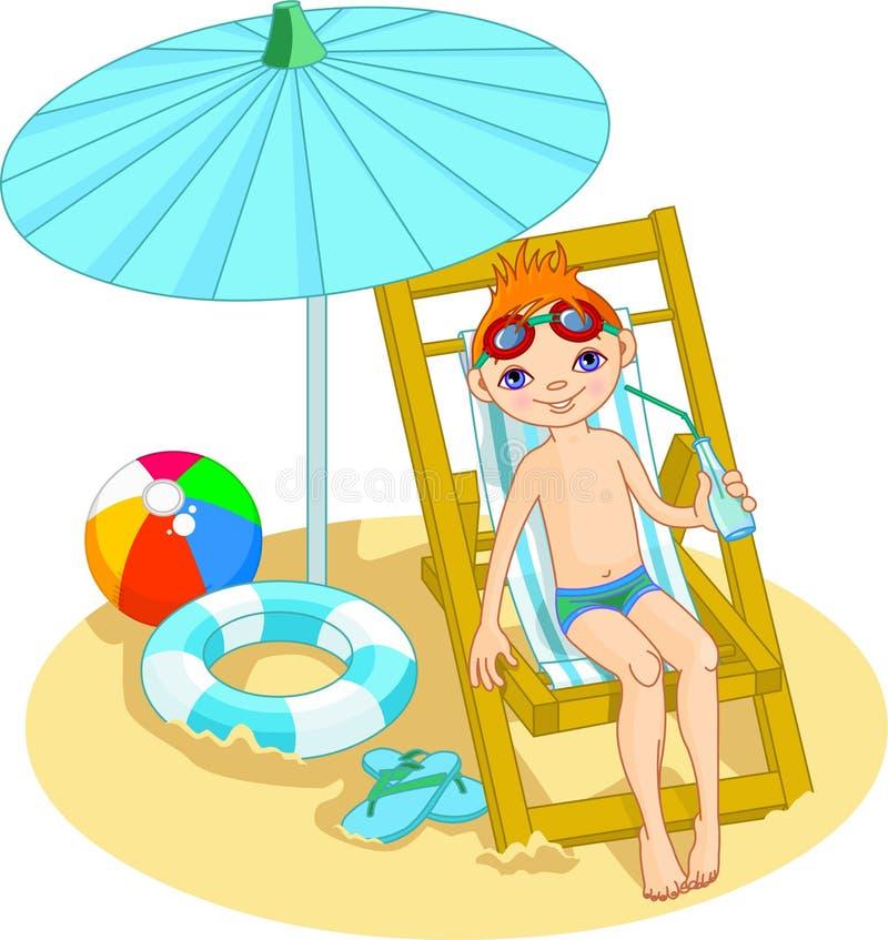 Ragazzo sulla spiaggia illustrazione di stock