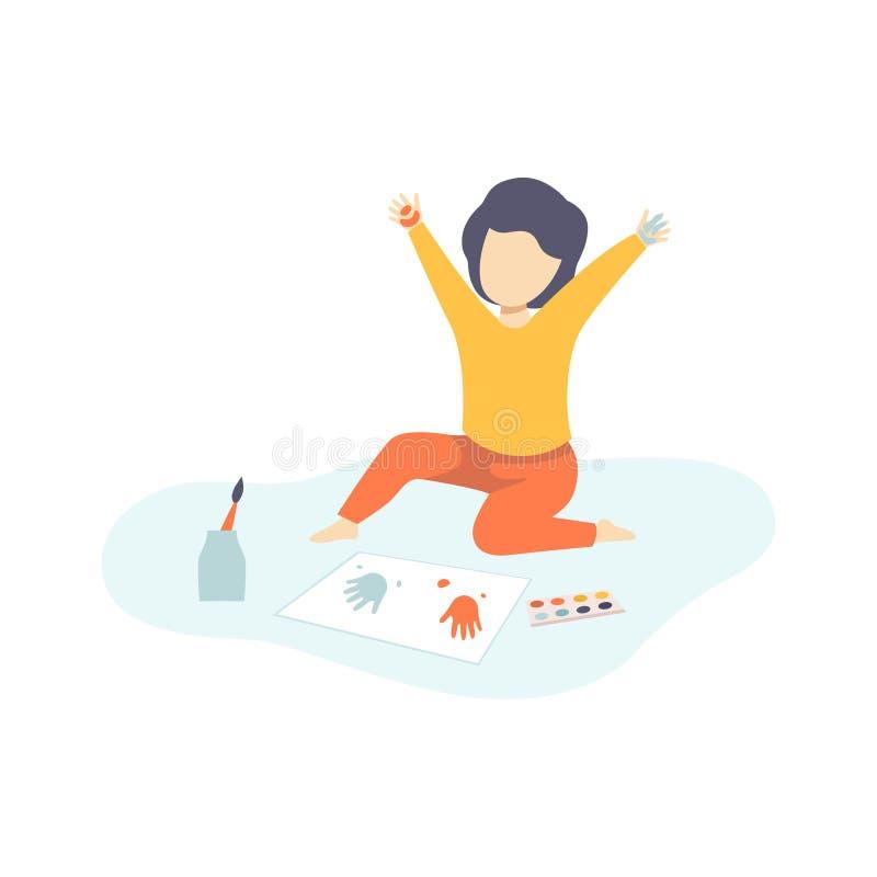 Ragazzo sveglio che si siede sul pavimento e che dipinge con Handprints variopinto, creatività dei bambini, istruzione, vettore d illustrazione vettoriale