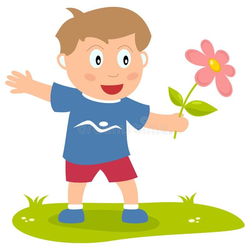 Ragazzo sveglio con il fiore illustrazione vettoriale