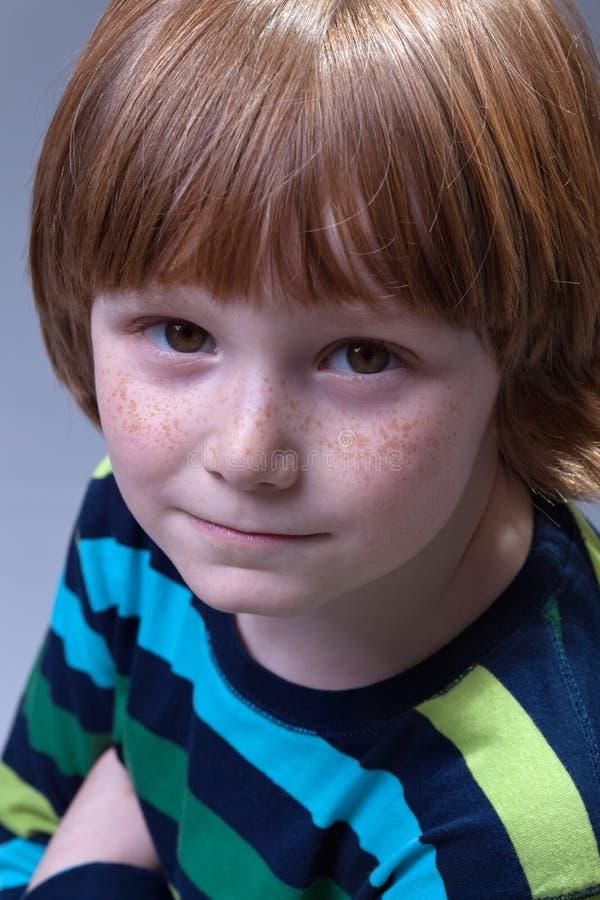 Ragazzo sveglio con il ritratto dei freckles immagini stock libere da diritti
