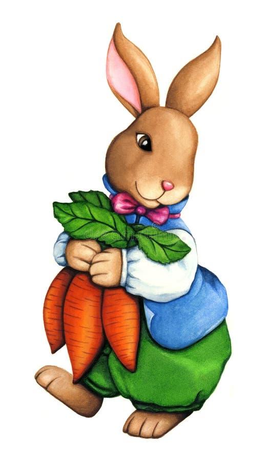 Ragazzo sveglio del coniglietto di pasqua dell'acquerello che tiene le carote, agghindate in bei vestiti illustrazione di stock