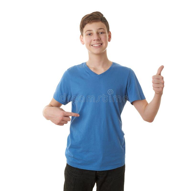 Ragazzo sveglio dell'adolescente sopra fondo isolato bianco fotografia stock