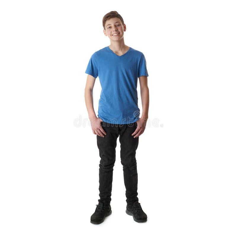 Ragazzo sveglio dell'adolescente sopra fondo isolato bianco immagine stock libera da diritti