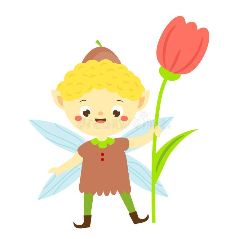 Ragazzo sveglio dell'elfo del giardino con il fiore del tulipano Piccolo folletto illustrazione vettoriale