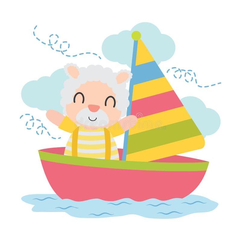 Ragazzo sveglio delle pecore nell'illustrazione del fumetto della barca a vela per progettazione del fondo della maglietta del ba royalty illustrazione gratis