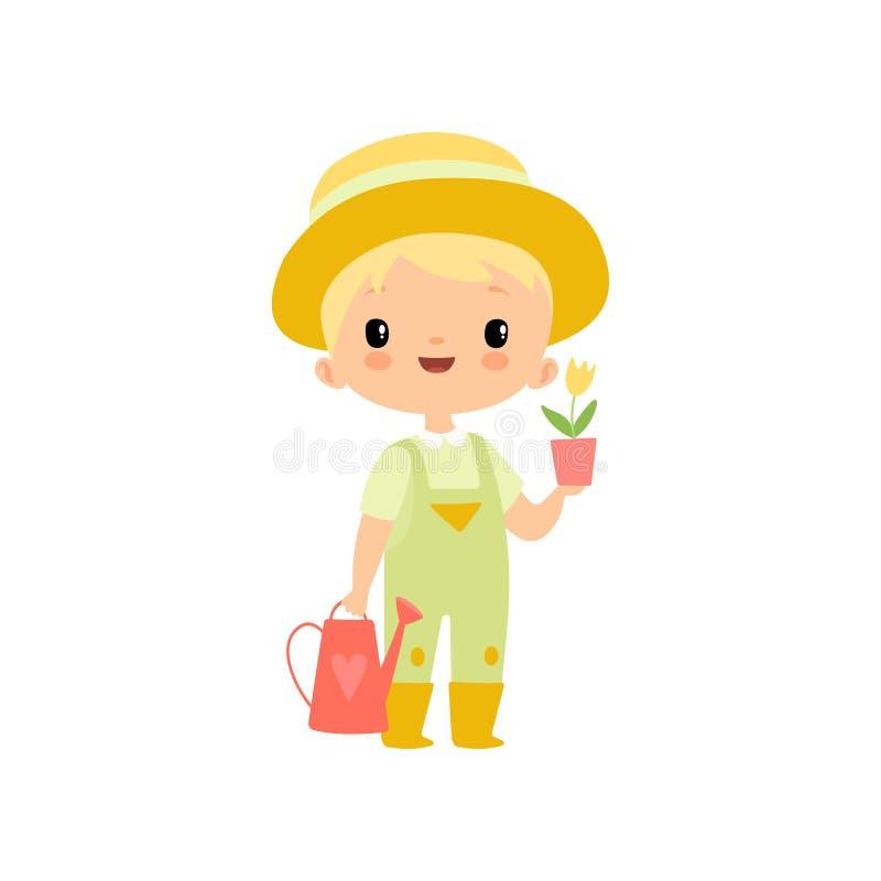 Ragazzo sveglio in in generale, stivali di gomma e cappello con l'annaffiatoio ed il vaso di fiore, giovane agricoltore Cartoon C illustrazione di stock