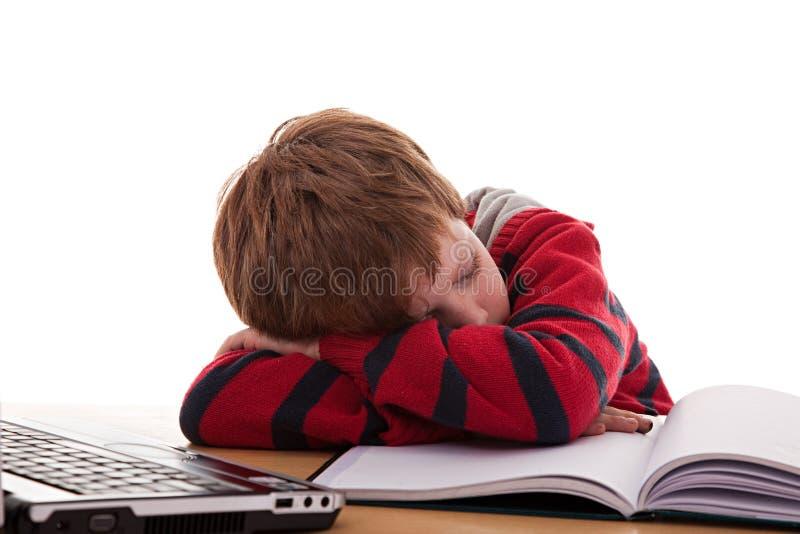 Ragazzo sveglio sullo scrittorio addormentato mentre studiando immagini stock libere da diritti