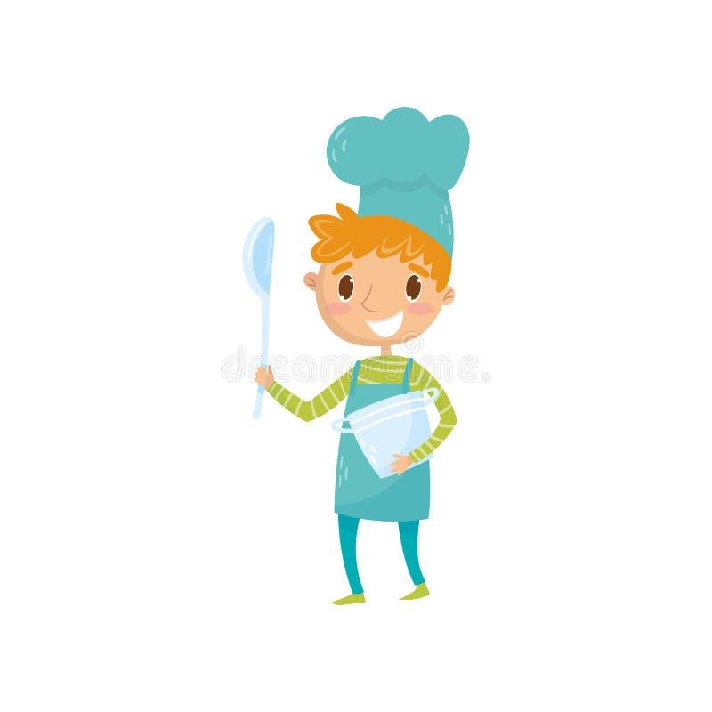 Ragazzo teenager in cappello del cuoco unico e del grembiule, tenendo siviera e casseruola Scherzi il sogno del fornello famoso d illustrazione di stock