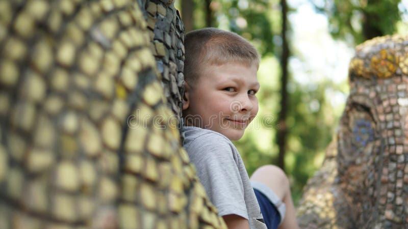 Ragazzo teenager sorridente sulla lettiera del mosaico Adolescente sveglio divertente nel parco di estate immagine stock