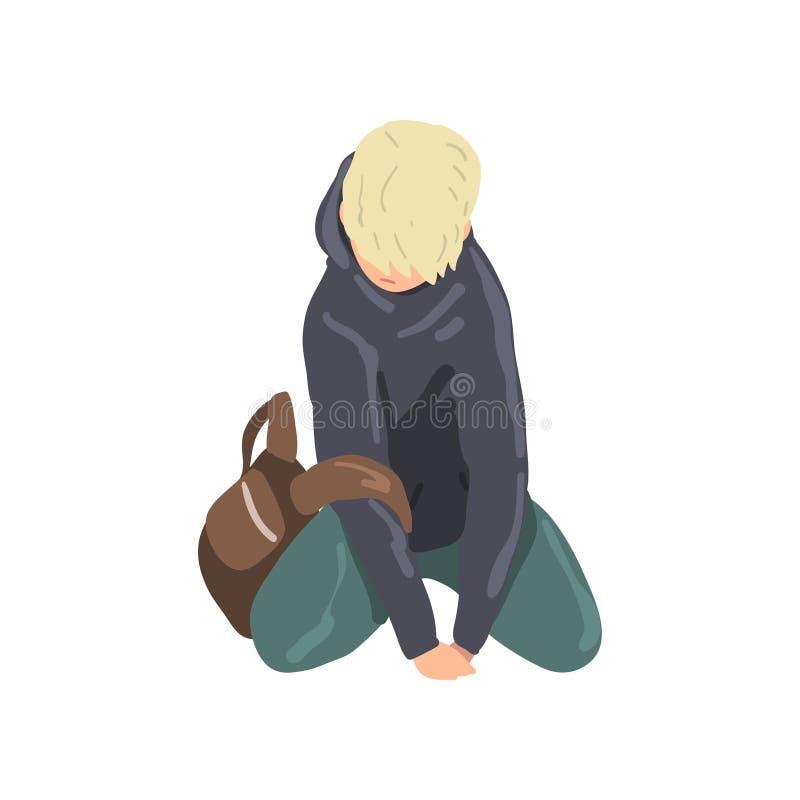 Ragazzo teenager triste che si siede sul pavimento, illustrazione sola depressa di vettore dell'adolescente su un fondo bianco illustrazione vettoriale