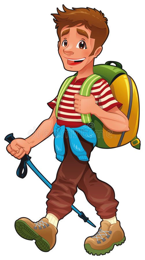 Ragazzo Trekking. royalty illustrazione gratis