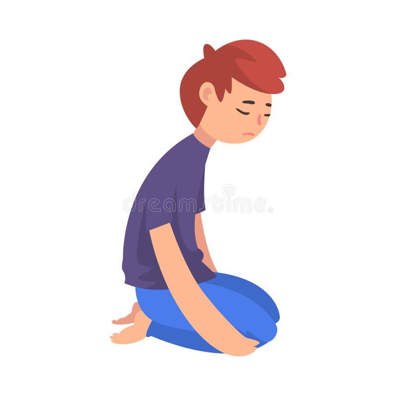 Ragazzo triste infelice che si inginocchia sul pavimento, adolescente deprimente, solo, ansioso, abusato che ha illustrazione di  illustrazione di stock