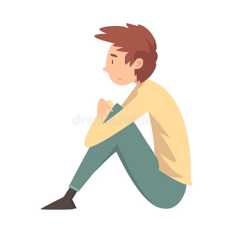 Ragazzo triste infelice che si siede sul pavimento, adolescente depresso che ha problemi, illustrazione di vettore di vista later illustrazione vettoriale