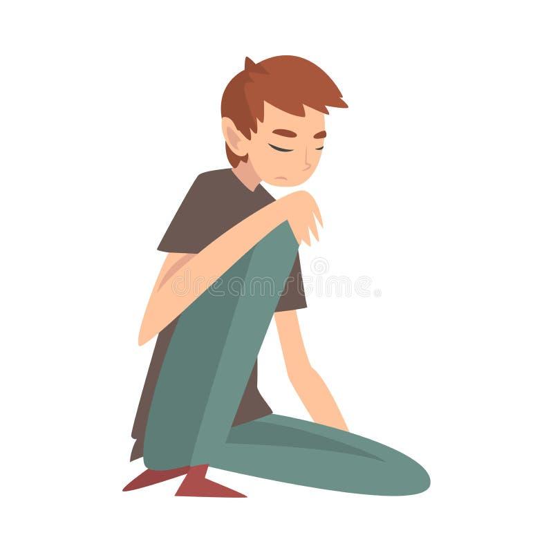 Ragazzo triste infelice che si siede sul pavimento, adolescente deprimente, solo, ansioso, abusato che ha illustrazione di vettor illustrazione di stock