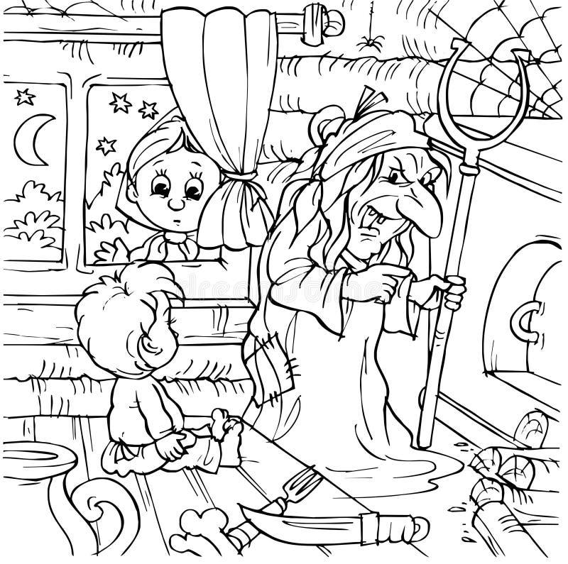 Ragazzo in una casa della strega illustrazione di stock