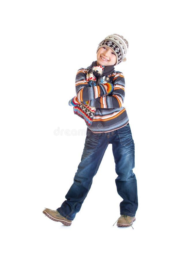 Ragazzo in vestiti di inverno immagine stock