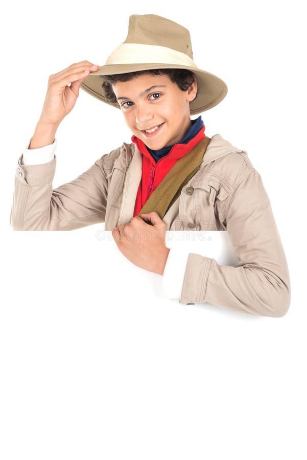Ragazzo in vestiti di safari fotografie stock libere da diritti