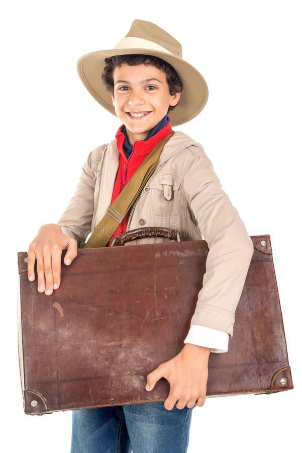 Ragazzo in vestiti di safari fotografia stock libera da diritti