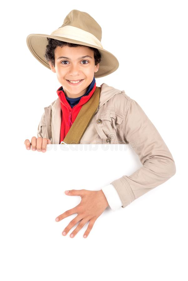 Ragazzo in vestiti di safari fotografia stock