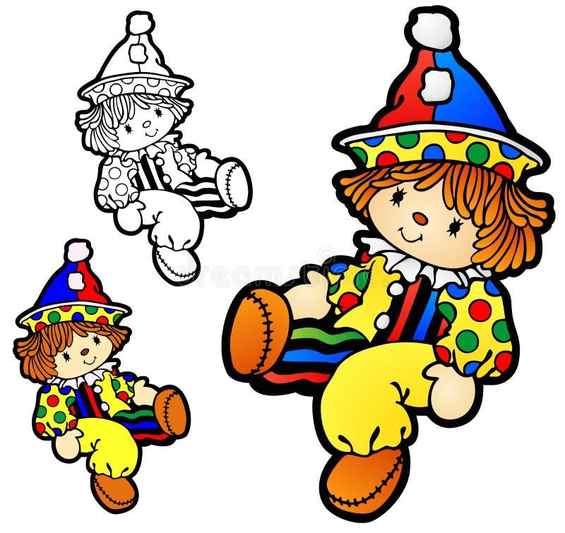 Ragdoll do menino com traje do palhaço ilustração do vetor