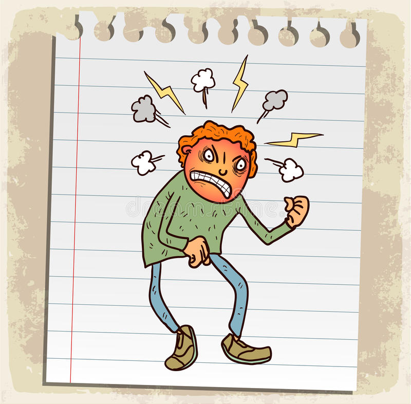 Rage de bande dessinée sur la note de papier, illustration de vecteur illustration libre de droits