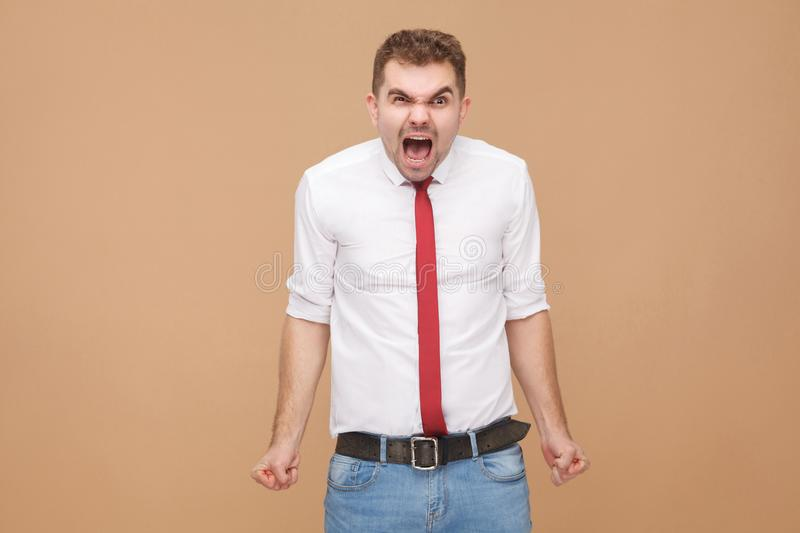 Rage feel. Businessman shout royalty free stock image