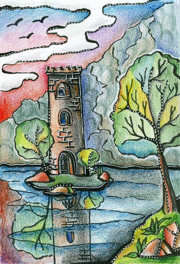 Ragen Sie auf die Insel im See hoch, der durch Bäume umgeben wird Fantasiezeichnung vektor abbildung