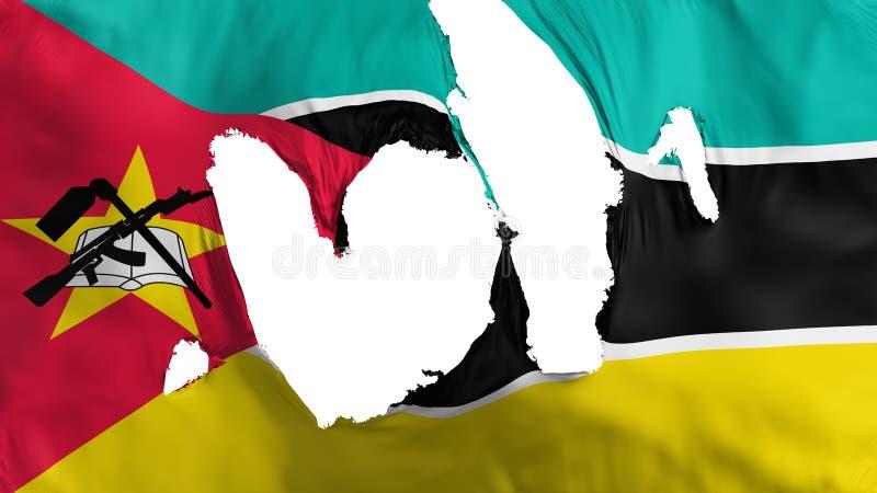 Ragged σημαία της Μοζαμβίκης διανυσματική απεικόνιση