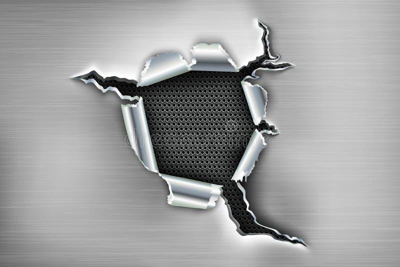 Ragged τρύπα στο μέταλλο ελεύθερη απεικόνιση δικαιώματος