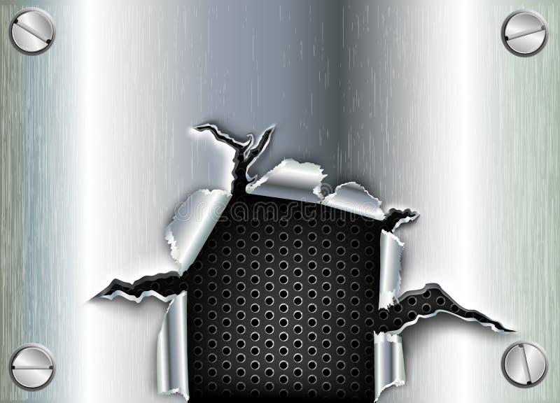 Ragged τρύπα στο μέταλλο διανυσματική απεικόνιση